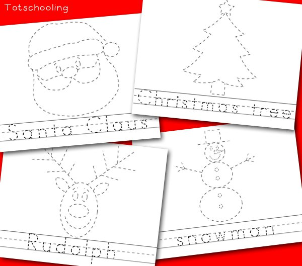 Christmas Picture & Word Tracing Printables