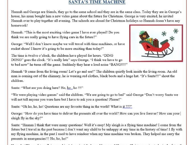 Christmas Reading Comprehension Text   Story   Santa's Time
