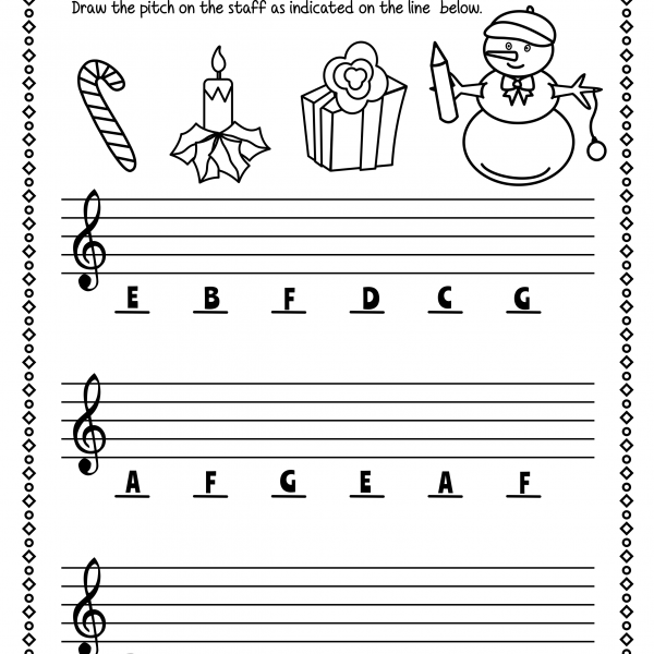 Christmas Treble Clef Note Reading Worksheets   Anastasiya