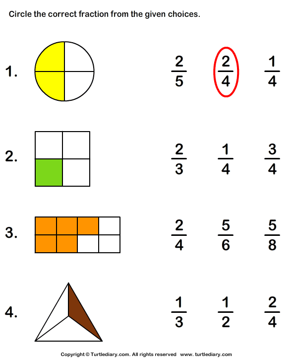 Circle Correct Fraction Representing Shaded Part Worksheet