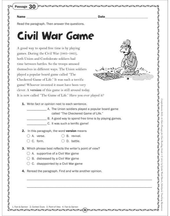 Civil War Worksheets 5th Grade