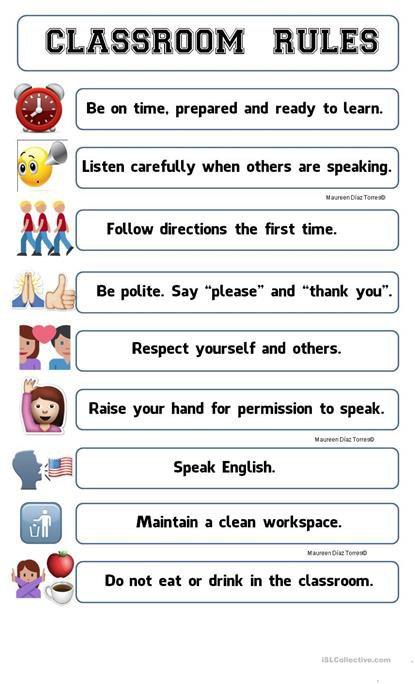 Classroom Rules Poster Emoji Worksheet