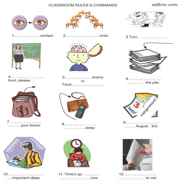Classroom Rules Worksheet For English Language Teachers
