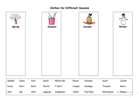 Clothes For Different Seasons Worksheet