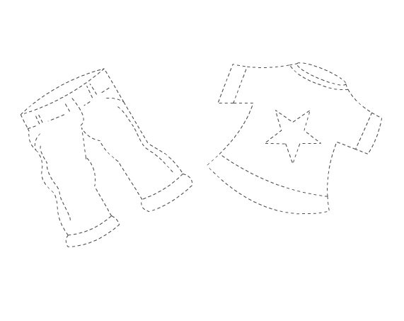 Clothes Trace Worksheet For Kids