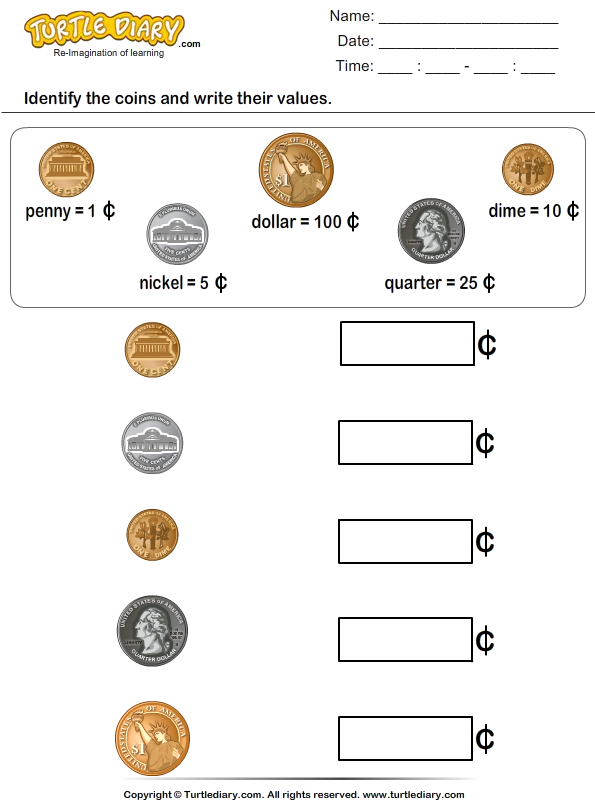 Coin Identification Worksheets Worksheets For All