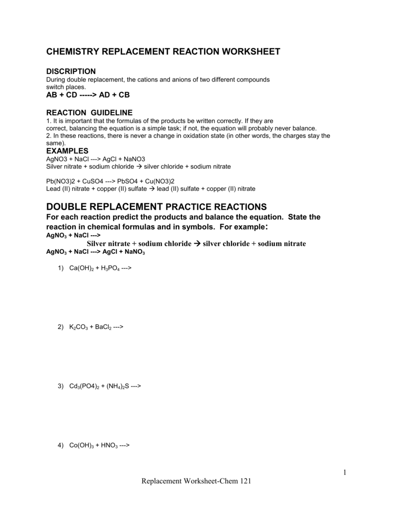 Collection Of Double Displacement Reactions Worksheet