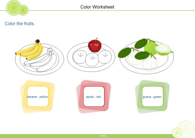 Color Fruits Worksheet