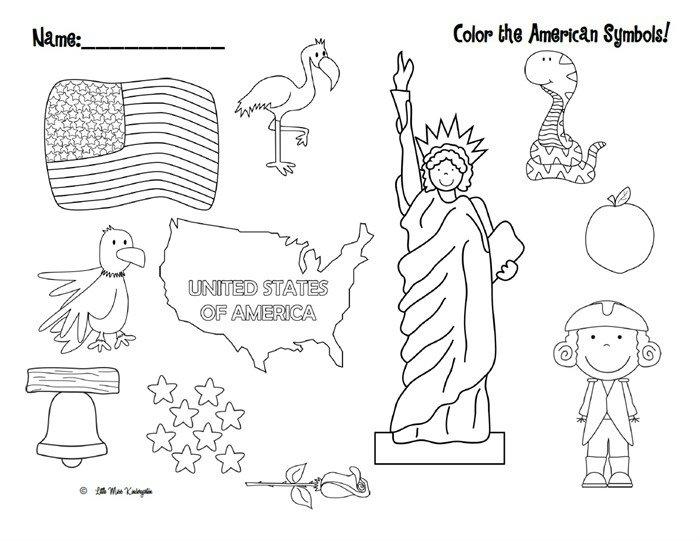 Color The American Symbols  Free Patriotic Printable!