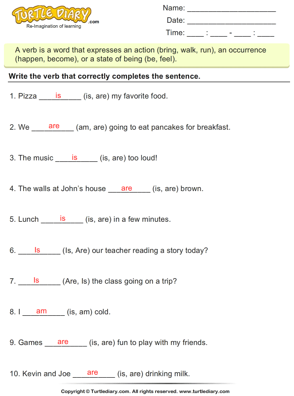 Complete The Sentences Using Verb Is Am Are Worksheet