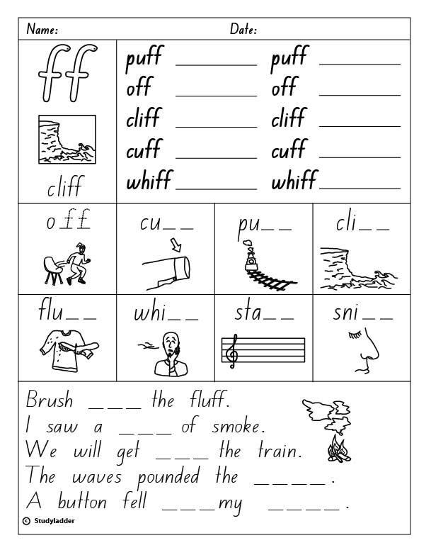 Consonant Digraph  Ff  Final Sound, English Skills Online