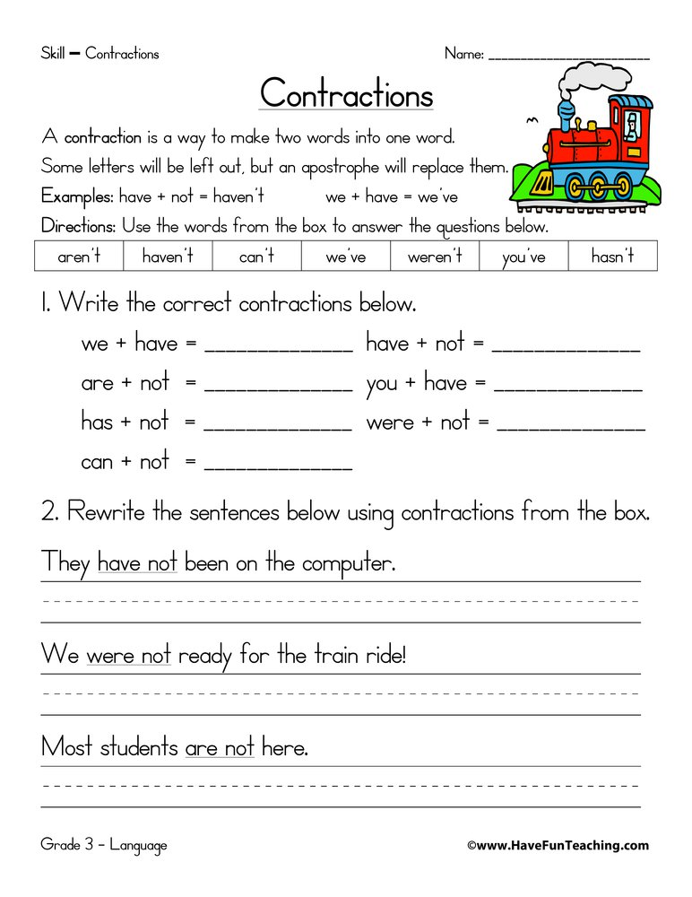 Contractions Worksheet 2nd Grade Contractions Worksheets Have Fun