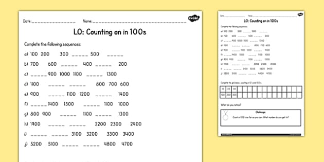 Counting In 100s Worksheet   Activity Sheet