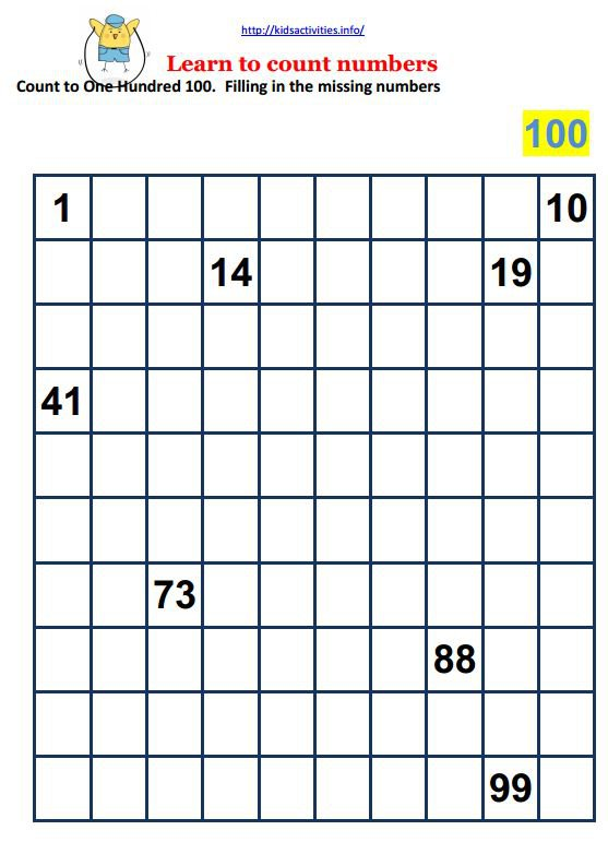 Counting To 100 Worksheets For Kindergarten Free Worksheets