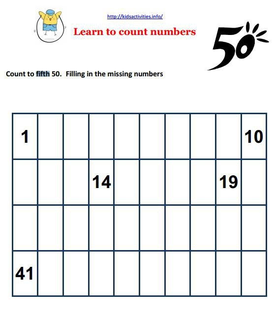 Counting To 50 Worksheets Free Worksheets Library