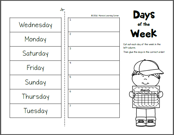 Days Of The Week Worksheets For Kindergarten Days Of The Week