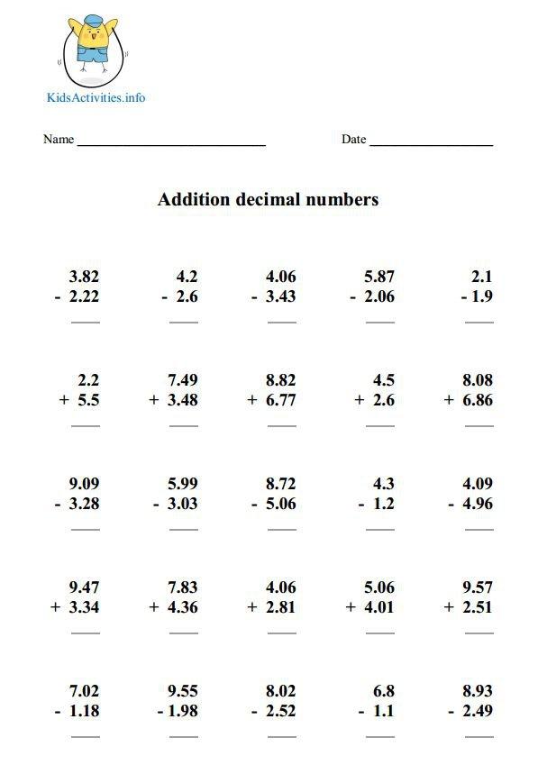 Decimal Worksheets For 4th Grade Free Worksheets Library