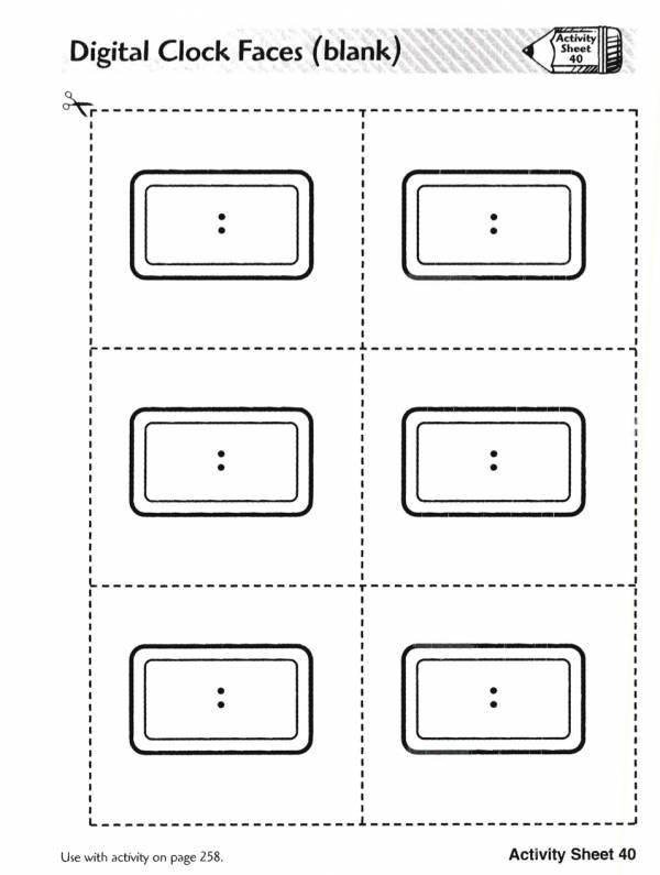 Digital Clock Faces (blank) (free Printable Pdf)
