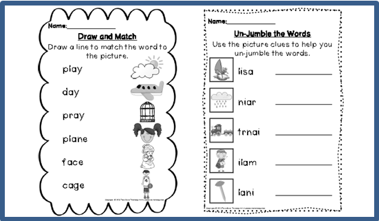 Digraph Activities, Games & Worksheets {a
