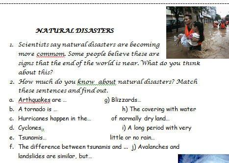 Disasters Worksheet