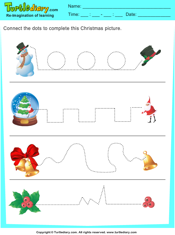 Download And Print Turtle Diary's Tracing Christmas Bell Worksheet