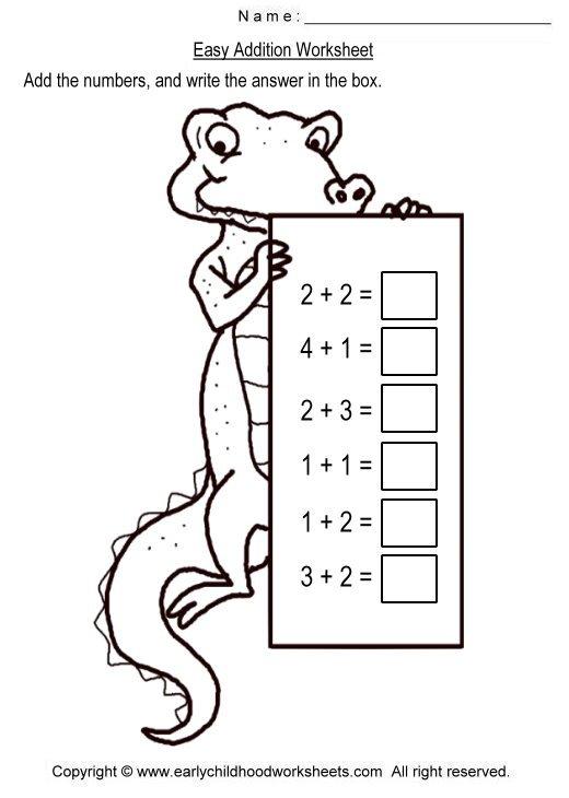 Easy Addition Worksheets