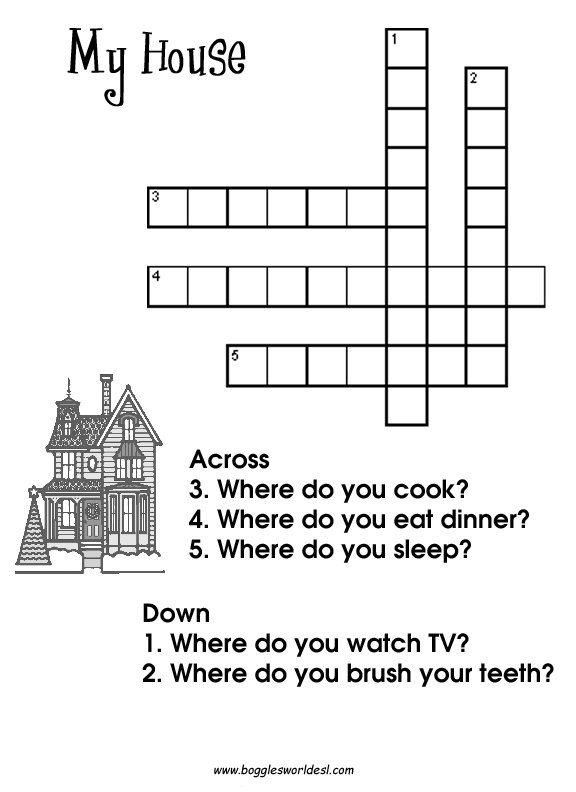 Easy Wordsearch For Kids Parts Of The House