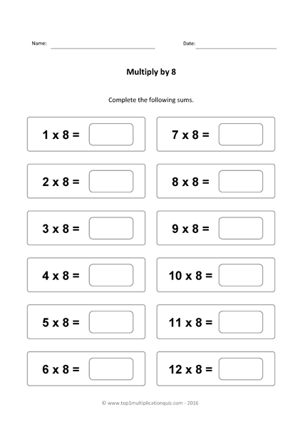 Eight Times Table Practice