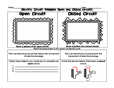 Electric Circuit Foldable  Open, Closed, Series, And Parallel