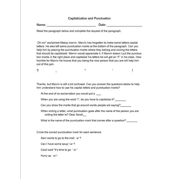 English Lesson Plan  Punctuation And Capitalization