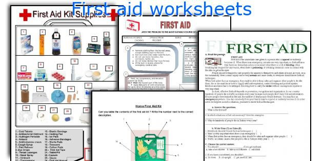 First Aid Printable Worksheets