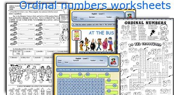English Teaching Worksheets  Ordinal Numbers