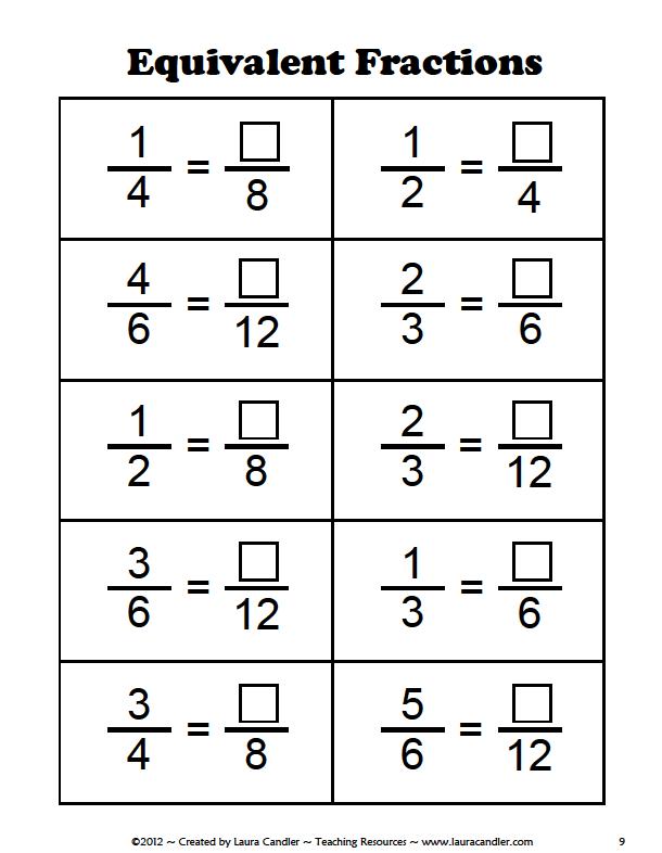 Equivalent Fractions Worksheet 6th Grade