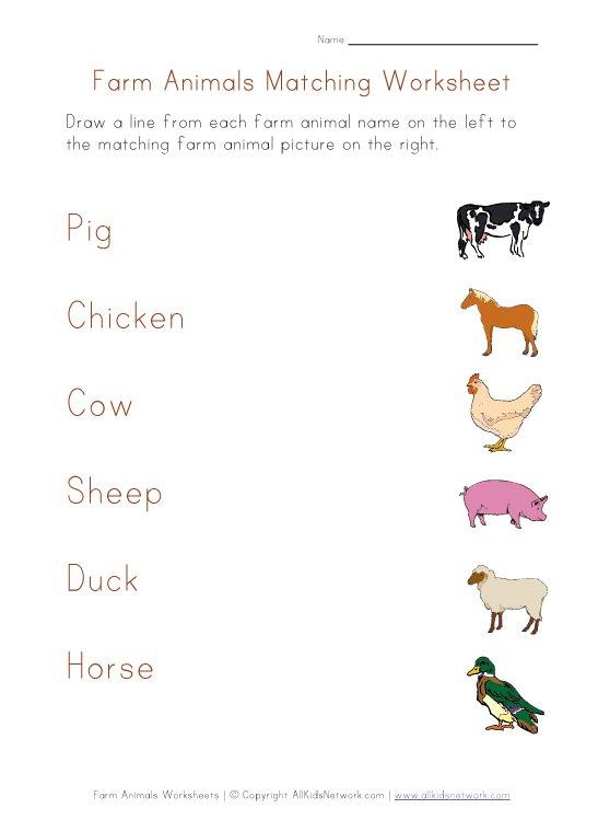Farm Animals Matching Worksheet