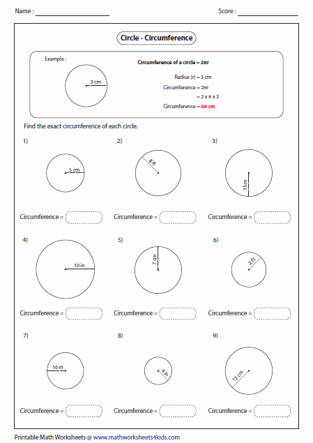 Finding Circumference Of A Circle Worksheet Free Worksheets