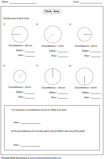 Finding The Area Of A Circle Worksheet Free Worksheets Library