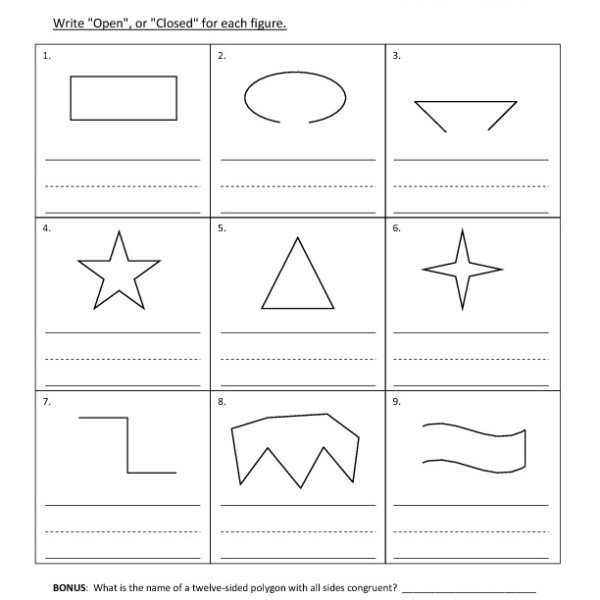 First Grade Open, Or Closed, Figures Worksheet 05 – One Page