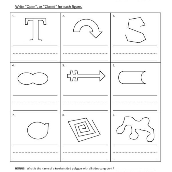 First Grade Open, Or Closed, Figures Worksheet 06 – One Page