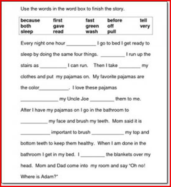 First Grade Reading Comprehension Worksheets Worksheets For All