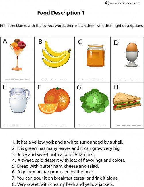 Food Description 1 Worksheet