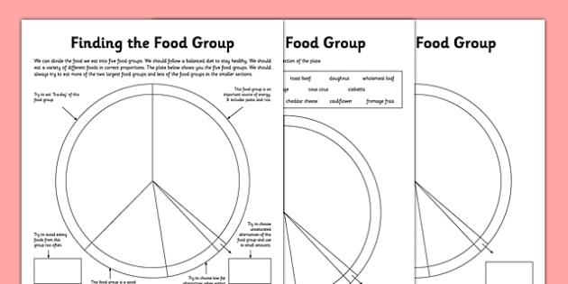Food Groups Worksheets