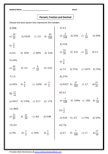Fractions Decimals And Percents Worksheets  Fractions