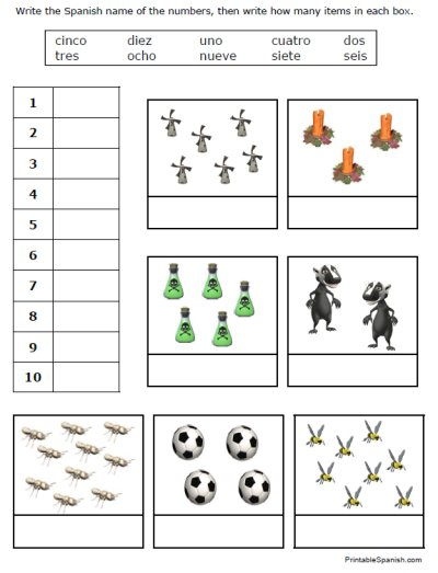 Fran's Freebies  Spanish Numbers Worksheets – Home Education Resources