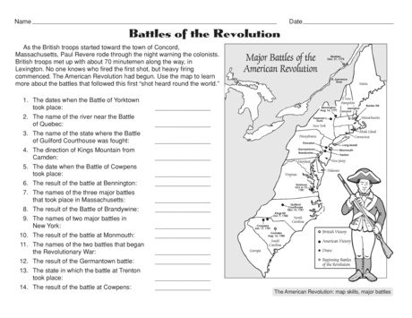 Free Battles Of The American Revolution Worksheet