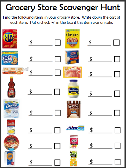 Free Grocery Store Scavenger Hunt Printable