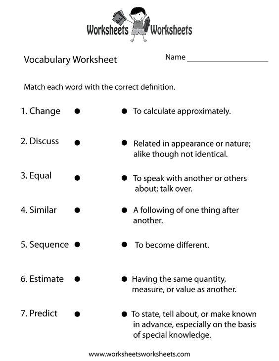 Free Printable 6th Grade Vocabulary Worksheets