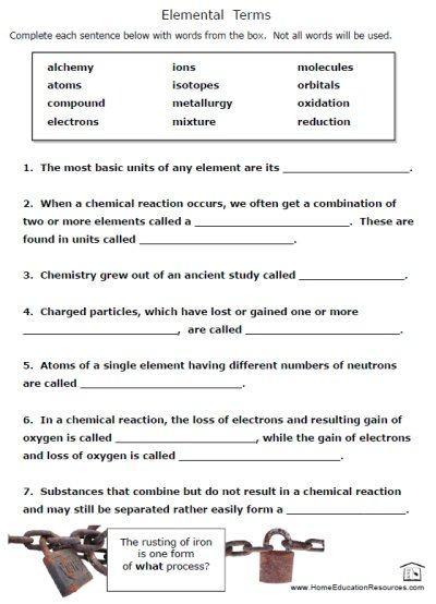 Free Printable Chemistry Worksheets  1