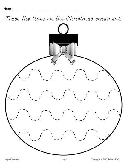 Free Printable Christmas Ornament Line Tracing Worksheets