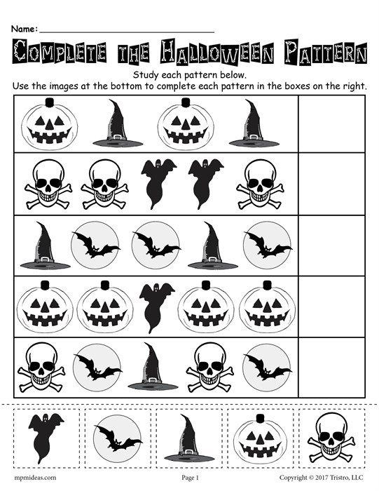 Free Printable Halloween Pattern Worksheet!