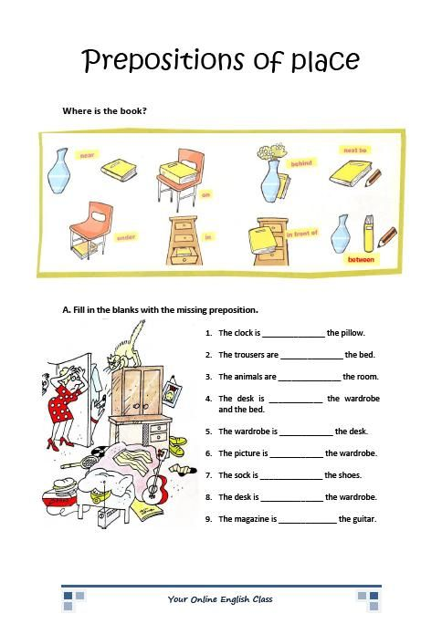 Free Printable Preposition Worksheets
